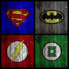 Vintage Superheros on wood