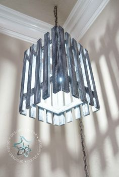 I love to use pallets and I love to make lights, so why not make a repurposed pallet light. by DeDe Bailey werkstatt Repurposed Pallet Light! Upholstery Trim, Furniture Upholstery, Upholstery Cushions, Upholstery Cleaning, Diy Hanging, Hanging Lights, Diy Pallet Projects, Wood Projects, Pallet Ideas