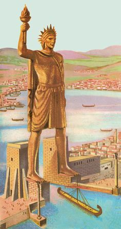 Ancient History Greece - A reconstruction of the Colossus of Rhodes based on a Medieval concept Ancient Mysteries, Ancient Ruins, Ancient Rome, Ancient Greece, Ancient Art, Ancient History, Ancient Greek City, Classical Greece, Classical Antiquity