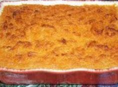 Traditional Soul Food, this quick and easy sweet potato bake can be served either as a side dish to a Southern entree or as a dessert. - Sweet Potato Pone Recipe - Quick Cooking at BellaOnline Sweet Potato Pone Recipe, Jamaican Sweet Potato Pudding, Sweet Potato Bread, Sweet Potato Casserole, Sweet Potato Recipes, Cream Sauce Pasta, Jamaican Recipes, Fall Recipes, Side Recipes
