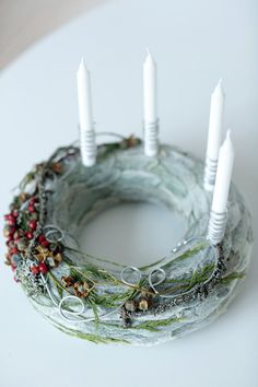 Advent wreath Christmas wreath Home decor Centerpiece image 2 Advent Candles, Christmas Candles, Christmas Centerpieces, Christmas Decorations, Christmas Ring, Nordic Christmas, Reindeer Christmas, Modern Christmas, Christmas Trees