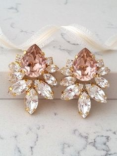 Blush EarringsMorganite Earringsrose gold blush Large Bridal