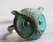 Owl Ring .. Verdigris Bird with Antique Gold