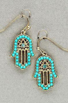 Turquoise Gold Hamsa Earrings
