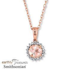Modern in color, yet classic in design, this necklace from the Earthly Treasures Smithsonian® collection features a round morganite encircled in round diamonds. Each profile showcases a diamond accent. Fashioned in 10K rose gold, the pendant has a total diamond weight of 1/15 carat, and suspends from a 16- to 18-inch adjustable cable chain secured with a lobster clasp. Morganite is pink beryl. Earthly Treasures Smithsonian® Morganite has been treated to permanently crea...
