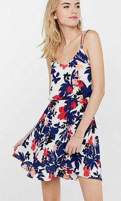 floral silhouette print strappy dress