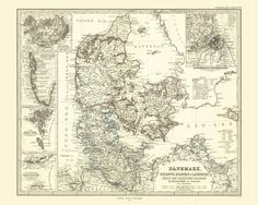 Denmark Antique Map Reproduction / Old Map Print of Denmark /