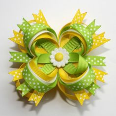 """4"""" Daisy Lime Green Yellow White Polka Dots Stacked Boutique Hair Bow"""