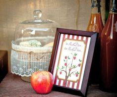 "Engagement/bridal shower ""apple of my eye"" theme with mini apple pie desserts, apple cider, & caramel apple favors."