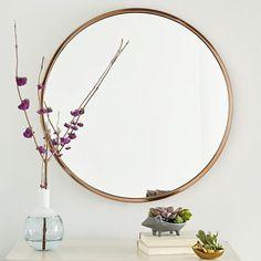 west elm metal framed round mirror in rose gold
