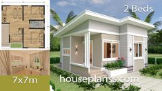 Small House Design Plans with 2 Bedrooms Full Plans - House Plans Sam 2 Bedroom House Plans, Coastal House Plans, Simple House Plans, Beach House Plans, Duplex House Plans, Simple House Design, Shop House Plans, Tiny House Design, House 2
