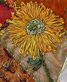 crazy quilt block: sunflowers (detail)