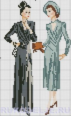 0 point de croix femmes retro - cross stitch retro ladies