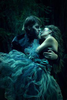 couple, digital art, dress, embrace, fairytale, fantasy