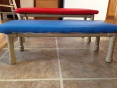 PVC pipe Therapy Bench. Less than $40 for 2. All materials from Lowes abs Fabric store. Super easy alternative from those expensive therapy benches from the disability catalogs. Lightweight and sturdy.