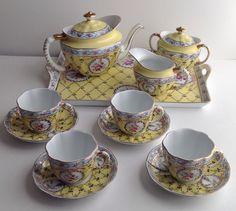 Royal Danube Adeline Tea Set Teapot, 4 Cups & Saucers, Cream & Sugar Bowls, Tray   eBay