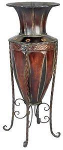 """Tuscan Old World Metal Planter Vase with Stand Dimensions: H: 27"""" x W:10.5"""" #planter #vase #tuscan #old #retro #cool #sick #cute #metal #hot"""