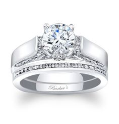 Unique Bridal Set - 7942SW - This unique white gold diamond engagement ring set features an engagement ring with a wide cathedral shank-Barkev's