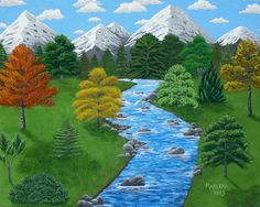 Rocky Stream 16x20 Acrylic Painting on Canvas by AcrylicsAndBeyond, $160.00