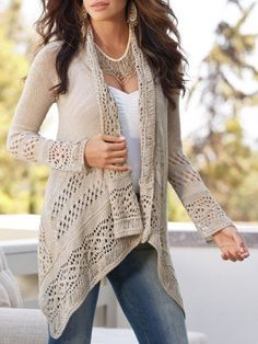 BOHO CHIC FASHION Get ready for this Spring, with trends of delicate lace fabrics, casual crochet, and romantic bohemian looks. Boho Chic, Black Women Fashion, Womens Fashion, Fashion Sale, Fashion Ideas, Cardigan En Maille, Beige Cardigan, Summer Cardigan, Sweater Cardigan