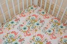 baby girl bedding-floral crib sheet pink baby by LittleNecessities