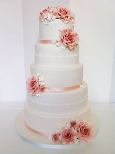 Roses and laces 5 tier Wedding Cake