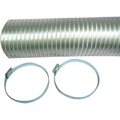 DEFLECTO A048MX/9 Semi-Rigid Flexible Aluminum Duct (4 x 8ft; With 2 metal worm drive clamps)