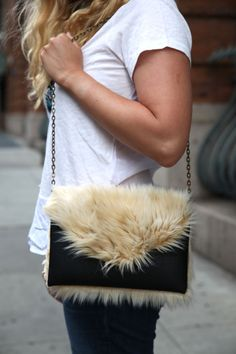 DIY: Faux Fur Clutch. - stripes and sequins