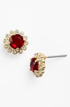 Sparkly red earrings are always a good idea.