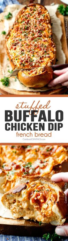 Mega flavorful Buffalo Chicken Dip Stuffed French Bread is your favorite decadent creamy, cheesy dip baked right into the loaf! Crazy delicious side or EASY crowd pleasing appetizer perfect for partie(Buffalo Chicken Dip) Snacks Für Party, Appetizers For Party, Party Dips, Appetizers Superbowl, Appetizer Dips, Appetizer Recipes, Appetizer Dessert, Party Recipes, Carlsbad Cravings