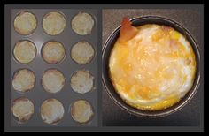 **Fun way to eat eggs**  Line pan cups with Crescent Rolls, bake.  Remove, re-spray cups, replace.  Add layers of diced ham, sauteed diced onions, shredded cheddar, 5 whisked eggs, top with 1/6 slice swiss.  Bake 15 mins at 325.  Customize to your taste =)