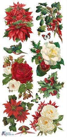 Victorian Christmas Roses and Poinsettias Stickers                                                                                                                                                     More
