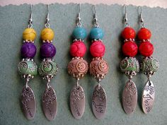Exotic earrings-native jewelry-Indonesia/Bali earrings-turquoise earrings-colourful stones-jewelry with message-elegant earrings-love-peace.