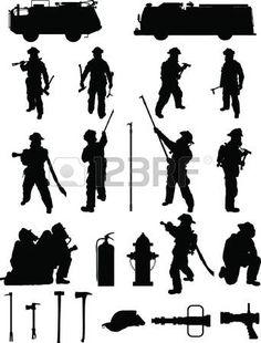 Bombero de sobres 1, distintas posiciones de lucha contra incendios, con el equipo photo