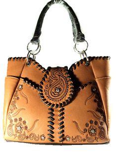 Concealed Carry Tote Handbag CCW Gun Purse Montana West / Paisley & Wrap Stitch - Brown  $74.99 + Free Shipping  wantedwardrobe.com  wantedwardrobe.net  #fashion #handbags #CCW