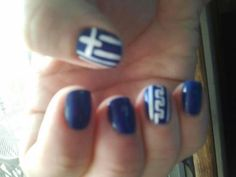 I had these done for the Greek Parade (Chicago) Still on after a week! Greek Independence, Grecian Wedding, Greek Culture, Chicago, Nails, Beauty, Finger Nails, Greek Wedding, Ongles