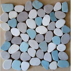 Rocha Random Sized Natural Stone Pebble Tile in Matte Gray/Blue Mulia Tile Ceramic Mosaic Tile, Stone Mosaic Tile, Pebble Mosaic, Mosaic Wall, Wall Tiles, Backsplash Tile, Tiling, Pebble Art, Shower Floor Tile