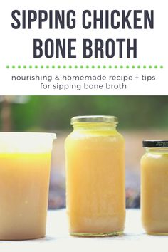 Sipping Chicken Bone Broth is an ancient superfood that can be easily made at home over a stovetop, using an instant pot, or a slow cooker. I personally find sipping on chicken bone broth to be nourishing and it's a wonderful base for soups and stews. Clean Recipes, Whole Food Recipes, Soup Recipes, Kitchen Recipes, Delicious Recipes, Healthy Recipes, Chicken Bone Broth Recipe, Homemade Bone Broth, Chicken Bones