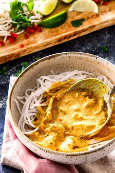 spooning best ever laksa recipe over rice noodles in a bowl Laksa Soup Recipes, Laksa Recipe, Curry Noodles, Rice Noodles, Laska Soup, Healthy Canned Soups, Asian Recipes, Ethnic Recipes, Asian Foods