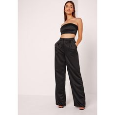 Missguided Satin Wide Leg Trousers ($45) ❤ liked on Polyvore featuring pants, black, wide leg trousers, satin pants, pocket pants, satin trousers and wide leg pants