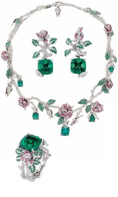 """""""Précieuses Rose"""" necklace, ring and earrings in white gold, diamonds, emeralds and pink sapphires by Dior Joaillerie."""