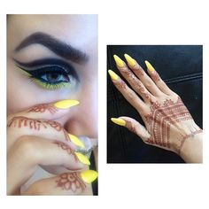 """#ShareIG  Last one from this #makeup look that I had fun doing just to look cool with my nails & for fun lol {Eye & Lips details under one of the pics I already posted}  A closer look of my #henna #hennatattoo & #nailcolor that I loved so much together  On nails is #OPI color """" Just can't copacabana"""" A beautiful yellow color  #NERASHEGLAM✨"""