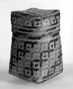 Chitimacha (Native American). Basket with Cover. Split cane, 6 7/8 in.  (17.5 cm). Brooklyn Museum, Gift of D.D. Streeter, 40.787a-b. Creative Commons-BY (Photo: Brooklyn Museum, 40.787a-b_bw.jpg)