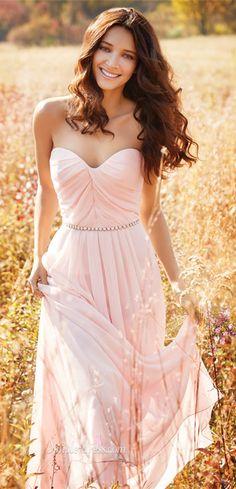 2016 strapless long chiffon pink prom dress, bridesmaid dress, wedding party dress