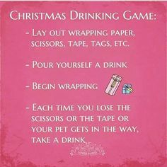 This Christmas drinking game would have me on the floor in minutes!   #christmas #drinking #game #wrapping