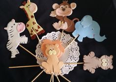 Jungle Centerpiece Picks Beautiful Baby Animals for Cake and Centerpieces Decorations Beautiful jungle party favor set it can be used in different Decorations in Cakes as party favors, Guess table Dec
