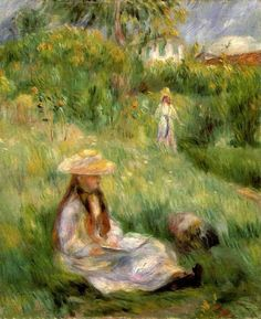Young Girl in the Garden at Mezy, 1891 ~ Pierre-Auguste Renoir ~ (French: 1841-1919)