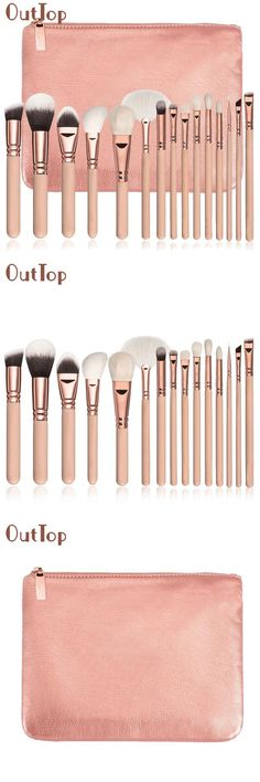 [Visit to Buy] OutTop Best Deal New 15 PCS Pro Makeup Brushes Set Cosmetic Foundation Loose Powder Complete Eye Kit + Case Beauty Tool Gift #Advertisement