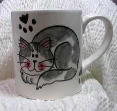 Smiling Cat Ceramic Mug Grey and White Handpainted Original Design With Paw Prints