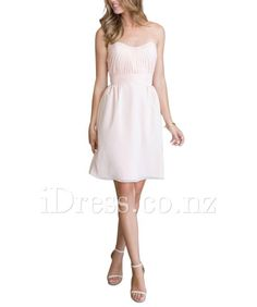 Refined Strapless A-line Chiffon Pleated Pale Pink Short Bridesmaid Dress